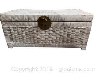 Small White Wicker Toy Box/Doll Trunk