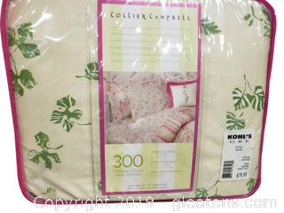 "Queen ""New"" Set Of Foral (Collier Compbell) 300 Thread Count Sheets"