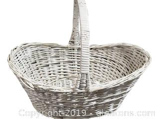 Large White Wicker Basket