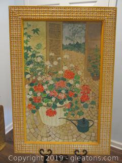 Geraniums / Framed Print / 1972 / Listed Artist Lydia Kemeny 1925-2012 / Signed