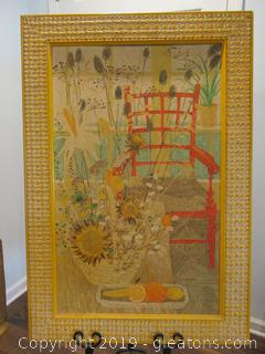 Red Chair / Framed Print / 1972 / Listed Artist / Lydia Kemeny 1925-2012 / Signed