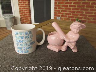 Haeger Pink Baseball Planter & Quotable Mug