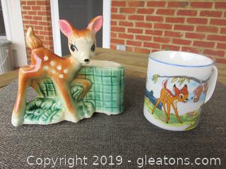 Bambi Planter USA and Vintage Walt Disney Bambi, Thumper, Flower & Possums Coffee Cup