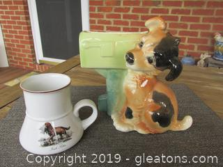 Vintage Royal Copley Dog with Mail Box Planter & Before There were Cup Holder There were Dash Board Coffee Mugs (Irish Setter)