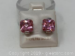 Large Pink Earrings New Set In Sterling