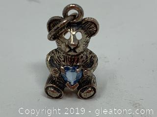 Sterling And Gem Stone Teddy Bear Pendant