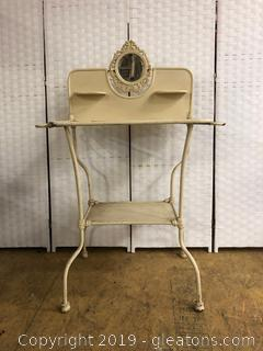 French Antique Wash Stand With Enamel Desk And ornate Mirror