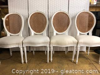 Beautiful French Cane Back Chairs White Wash Imported From Paris Lot B
