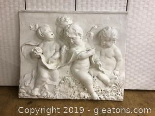Large Cherub Wall Art. Made In USA By Empire Co. Made Of Plastic Fork Material