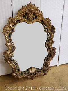 Vintage Very Large Gold Gilded Wood Ornate Decorative Mirror