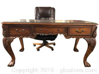 Gorgeous Burled Walnut Chippendale Desk from New York