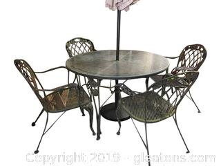 Outdoor Patio Set Table Umbrella And 4 Chairs Vintage