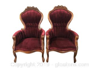 Pair of Victorian Parlor Chairs in Pristine Condition