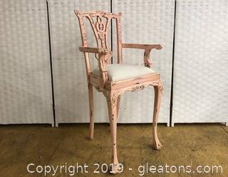 Lot A Pink High Chair Chippendale Style Shabby Chic Solid Wood