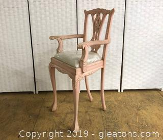 Lot B Pink High Chair Chippendale Style Shabby Chic. Solid Wood