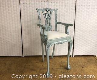 Blue High Chair Chippendale Style Shabby Chic. Solid Wood