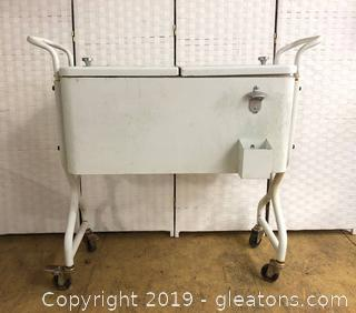 Vintage Beverage Cart Ice Bin With Bottle Top Opener White Enamel