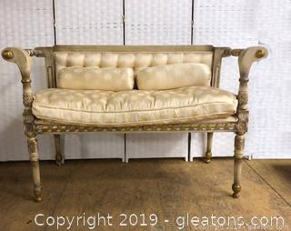 French Settee With Damask Upholstery Back, Gold Gilding