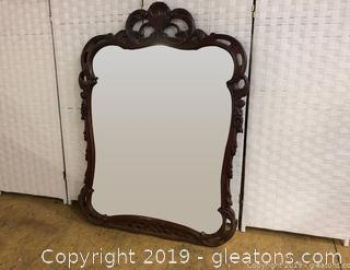 Ornate Antique Mirror Lovelop Detail Solid Wood Freince