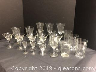 Lot Of Etched Crystal Stemware 20 Pieces