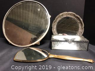 Lot Of 3 Vanity Mirror And Vintage Jewelry Box