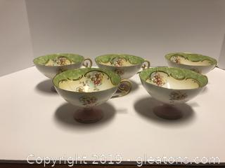 5 Antique Tea Cups Very Fragile Paper Thin