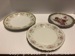 3 Plates Bavaria Schwarzburg Crown China