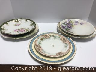 6 Plates Victorian England, France And Baweerian Mix