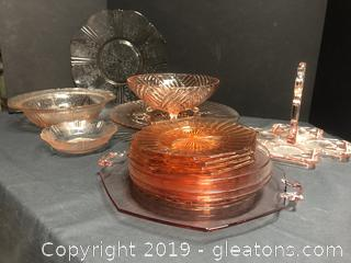 LOT of Pink DEPRESSION Glass and AMERICAN SWEETHEART