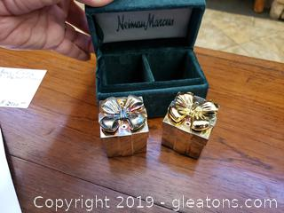 Godinger VIntage In original Box Neiman Marcus Silver Gold Bow Box Salt And pepper Shakers