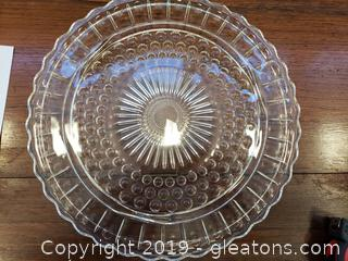 Vintage Depression Glass Clear Footed Sunflower Cake Plate
