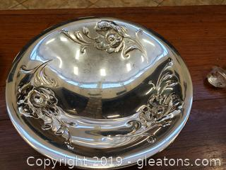 "Footed Vintage ""Gala"" Oneida Community/poppy Silver Plated (3) Legged Dish"