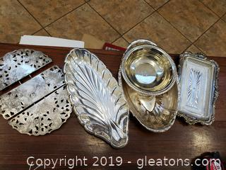 Vintage Set Of Silver Plated Hot Plate/Bowls/Glass/Ballet Silver Coated With Glass Tray