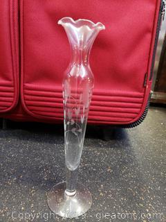 Vintage Etched Glass Fluted Vase