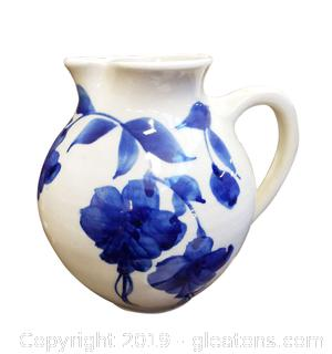Vintage Blue And White Hand Painted Pitcher Glazed/Crackle