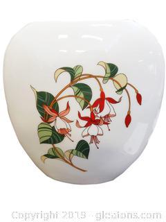 Vintage Otagiri Japan Gallery Porcelain Flat Oval Vase