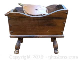 Small Vintage Firewood Box With Vintage Flower/Bellow