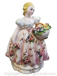 Vintage Hand Painted/Gold Detail Lady With Basket Of Flowers Stamped Italy