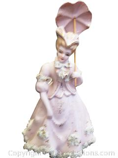 VTG Lefton China Lady Figurine With Umbrella And Spaghetti Gold Trim