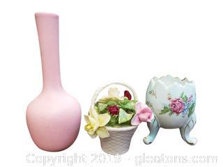 Royal Haeger USA RG-68 Small Pink Radnor Bone China Basket Of Flowers