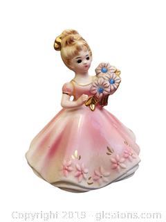 "4"" Tall Josef Original Porcelain Girl Figurine Pink/Gold Detail"