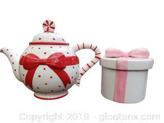 (2) Decorative/Festive Glazed Teapot/Bow Box/Ceramic