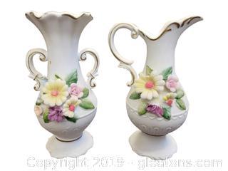 Vintage Porcelain Hand Painted Footed Pedestal Pitcher + Vase/Miniature