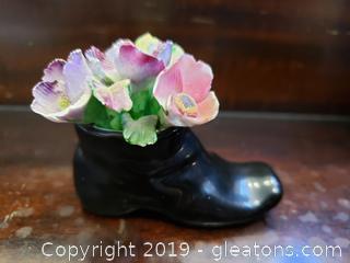 Vintage Fenton Bone China England Black Boot With Flowers/Miniature