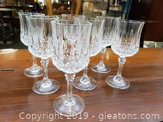 Set Of (7) Crystal Cristal D'Arques Durand Long Champ Cordial Goblet Glasses