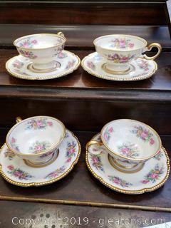 Set Of Vintage (4) Tea Cups/Saucers Castleton China/Rose