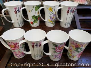 """Set Of (8) Tall Vintage Crown Trent Bone China Floral Set Of Coffee Mugs 6""""Tall Floral England"""