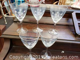 """Set Of (5) 6"""" Etched Glass Vintage Wine Glasses"""