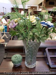 Lot Of (22) Glass/China Stemmed Vintage Flowers And (Stem Arranger) (Wot Including Vase)