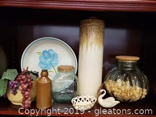 Box Lot Of Home Decor And Lenox, Vintage Makefielo Pottery